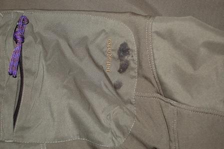 Patagonia Mixmaster pants pocket with Seam Grip repair.
