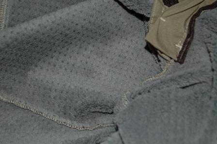 Insulation inside the Mixmaster softshell pants.