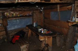 Inside the cabin at Campamento Rio Blanco